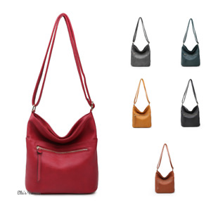 Women Comfy Slouch Faux Leather Crossbody Handbag Shoulder Shopper Tote Hobo Bag