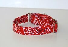 "1"" Small (Whippet) Martingale Dog Collar Red Bandana"