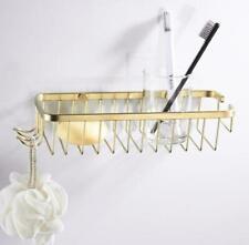 Brushed Gold Bathroom Brass Shower Caddy Basket Storage Shelves w/Two Hangers
