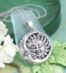 Sun Crescent Moon Pendant ONLY - Celestial Face Eclipse Sterling Silver wh182