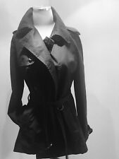 Ralph Lauren Rugby Women's Black Peplum Trench Coat Jacket size M