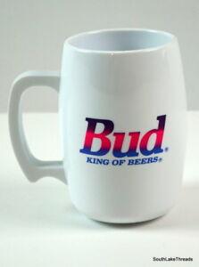 "VTG 80s Bud King of Beers Acrylic Mug w/ Handle Neon Pink Purple Blue 5"" Tall"