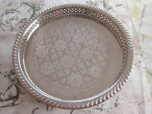 """Large Moroccan Handmade Serving Brass Tea Tray 16"""" (40 cm) round Nickel Plated"""