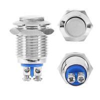 Interruttore Elettrico Impermeabile Pulsante Momentaneo Metallo On/Off 12mm