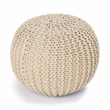 Knitted Ottoman – Natural Colour, Fashionable Gift for Her House Warming Gift
