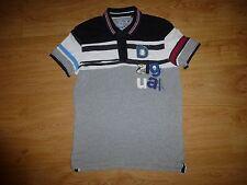 Men's Desigual Slim Multi Stripe Short Sleeve Cotton Polyester Polo Shirt Size S