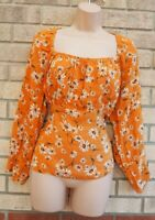 PRIMARK TAN YELLOW FLORAL DAISY VISCOSE PUFF LONG SLEEVE GYPSY BLOUSE TOP 16 18