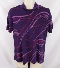 Carolyn Strauss Womens Shirt Purple Short Sleeve Sz Medium Stretch Career CB29L