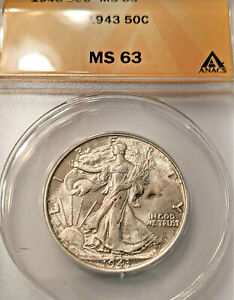 1943  Walking Liberty Half Dollar MS63 ANACS !  BLAZER !