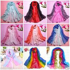 Fashion Lady Gradient Color Long Wrap Women's Shawl Chiffon Scarf Scarves Stole