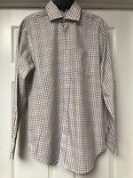 Peter Millar Mens Large Shirt Long Sleeve Button Down Multi Colored Plaid Dress