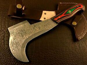 Handmade Damascus Steel Bill Hook Axe/ Hatchet-Functional-Leather Sheath-BHd78