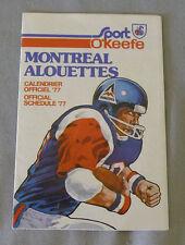 Original  CFL  Montreal Alouettes 1977 Official O'Keefe Football Schedule