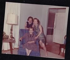 Vintage Photograph Three Women Sitting in Chair in Retro Room