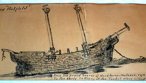 Nautical Antique Pen & Ink Ship Hatfield Tusket Nova Scotia Canada Doubloons Rum