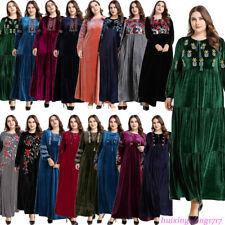 Velvet Abaya Women Muslim Embroidery Long Dress Islamic Kaftan Dubai Jilbab Robe