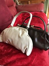 Two Retro Hand Bags For Sale Cream And Brown