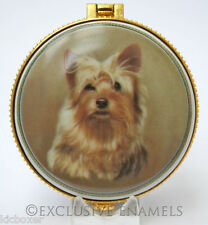 More details for alastor enamels yorkshire yorkie terrier dog round hinged china trinket box