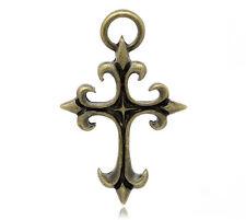 2 Large Antique Bronze Metal GOTHIC CROSS Pendants. CHB0114