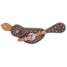 Silver Royal High Noon Crystal Rowel Spur Strap w/ Inlay - Brown - Large - Nwt