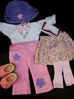 6 pc outfit American Girl Kit Meet Pleated Skirt, Corduroy Pants, Hat Shirt Shoe