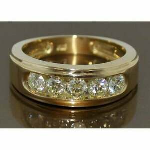 Invisible Setting Broad Band Natural Diamond Wedding Men's Ring GGL Certified