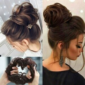 Natural Curly Messy Bun Hair Piece Scrunchie Updo Cover Hair Extensions Brown