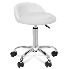 Adjustable Rolling Stool With Back Rest - White Medical Spa Drafting Stool