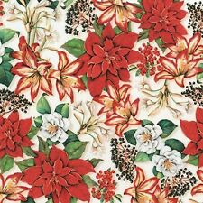 Colorful Poinsettias-White B/G-Holly Jolly Christmas-BTY-Robert Kaufman-Digital