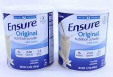 2 Ensure Nutrition Powder Original Vanilla 14 oz each 8g Protein 24 Vit & Mins