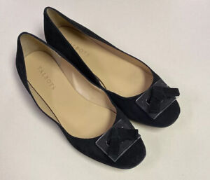 Talbots womens black suede clear accent slip on formal flats size 9M