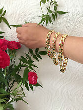 "Blgiftshop 10mm 10"" SG1208 18K Gold Plated No Stone Men's Chain Curb Bracelet"