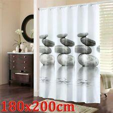 Tenda da Doccia Impermeabile Shower Curtain 180x200cm con 12 Ganci Anelli Bagno