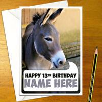 DONKEY Personalised Birthday Card - animal cute boy girl happy
