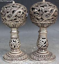 China Silver 12 Zodiac Year Dragon Lion Fengshui Geomantic Ball Statue Pair