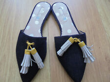 BODEN NAVY TASSLE DARK  DENIM SLIP ON SIZE 38==5 BNWOB
