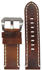 26mm Short Panatime Vintage Tobacco Distressed Leather Watch Band w WS 110/70
