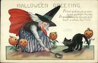 Halloween Witch Mouse Cat c1910 Whitney Postcard