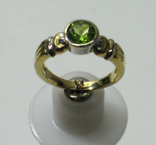14K SOLID YELLOW GOLD SIZE 7 Solitaire Ring W/ Peridot Gemstone N114-M