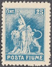 1919 Fiume 25 cent. azzurro Non emesso Sass. 57 Nuovo MNH** cert Colla