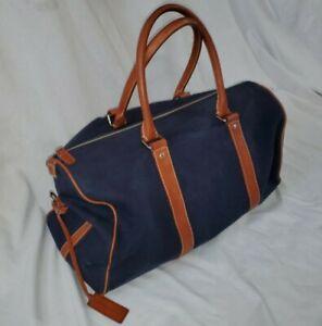 Polo Ralph Lauren Navy Blue Canvas Leather Duffle Bag stadium purple label rare