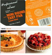 "2PCS Non stick Mini 4"" round Fluted tart golden pan loose base Pastry mould pan"