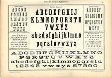 Stampa antica ALFABETI e NUMERI ANTIQUA EGIZIANO 1898 Old Print Alphabet Writing