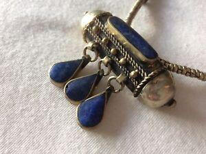 Tibetan Lapis Lazuli  Pendant  Boho Costume Jewellery Nepali Necklace