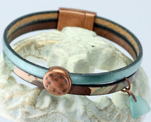 NEW! Metallic Green and Camouflage Leather Copper Wrap Bracelet