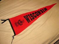 Vintage University of Wisconsin Badgers Felt Pennant Sewn Letters Red & Black
