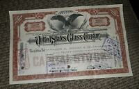 STOCK CERTIFICATE 27 Shares US UNITED STATES GLASS COMPANY CO Pennsylvania OLD!