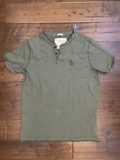 New WITH DEFECT Abercrombie & Fitch Muscle Fit Men's Henley T-Shirt, Green, XL