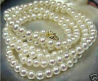 "beautiful 18 ""20"" AAA 8-9mm White south sea Pearl Necklace 14K Yellow Gold Clasp"