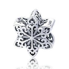 Authentic 925 Snowflake Silver European CZ Charm Pendant for Bracelet Necklace